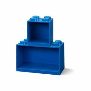 Súprava 2 detských modrých nástenných políc LEGO® Brick