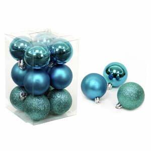 Súprava 12 tyrkysovomodrých vianočných ozdôb Unimasa Navidad, ø 4 cm