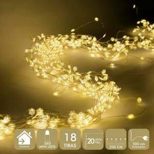 Svetelných LED reťazí v zlatej farbe Unimasa Guirnalda, 360 svetielok