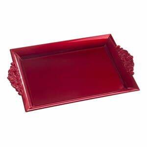 Červený obdĺžnikový servírovací podnos s rukoväťou Unimasa, 32 x 20 cm