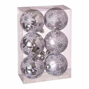 Súprava 6 vianočných ozdôb v striebornej farbe Unimasa Estrellas, ø 5 cm