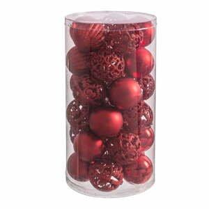 Súprava 30 vianočných ozdôb v červenej farbe Unimasa Mixto, ø 5 cm