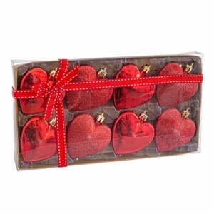Súprava 8 vianočných ozdôb v červenej farbe Unimasa Corazón, ø 6 cm