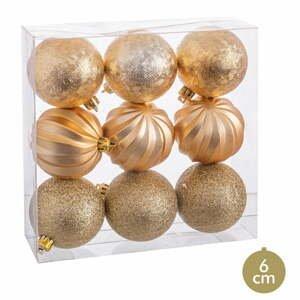 Súprava 9 vianočných ozdôb v zlatej farbe Unimasa, ø 6 cm