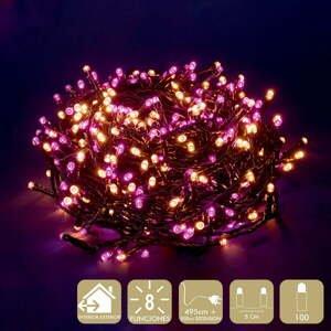 Ružovo-béžová svetelná LED reťaz Unimasa, 100 svetielok