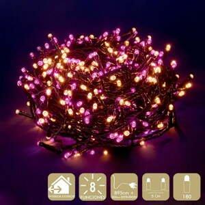 Ružovo-béžová svetelná LED reťaz Unimasa, 180 svetielok