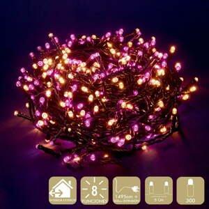 Ružovo-béžová svetelná LED reťaz Unimasa, 300 svetielok
