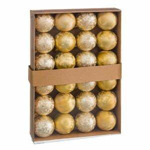 Súprava 24 vianočných ozdôb v zlatej farbe Unimasa Aguas, ø 4 cm
