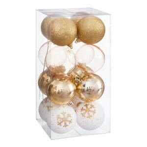 Súprava 16 vianočných ozdôb v zlatej farbe Unimasa Foam, ø 6 cm