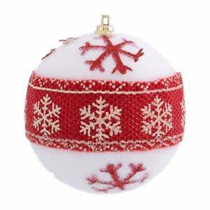 Súprava 12 vianočných ozdôb v červeno-bielej farbe Unimasa Foam, ø 6 cm