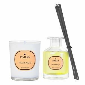 Súpravy sviečky a vonného difuzéra s vôňou broskyne a Amyris, Parks Candles London, intenzita vône 4 týždne