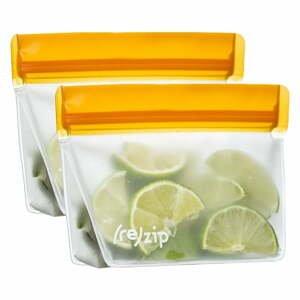 Súprava 2 oranžových desiatových vrecúšok (re)zips Essential, 230 ml