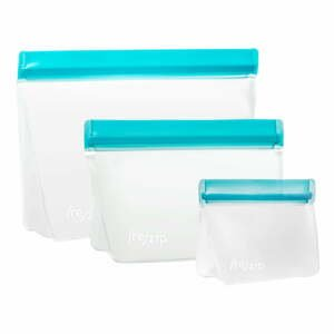 Súprava 3 modrých desiatových vrecúšok (re)zips Essential
