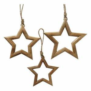 Súprava 3 vianočných závesných dekorácií z mangového dreva Boltze Taliz