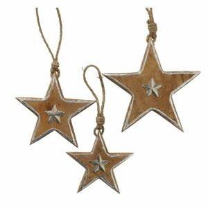 Súprava 3 vianočných závesných dekorácií z mangového dreva Boltze Bellona