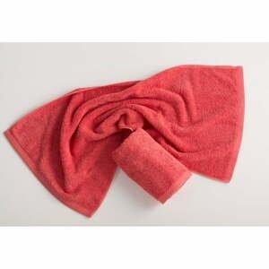 Červenoružový bavlnený uterák El Delfin Lisa Coral, 50 x 100 cm