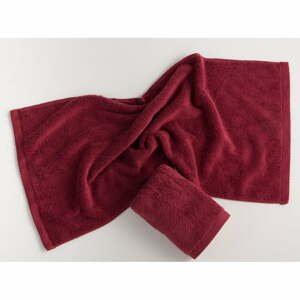 Tmavočervený bavlnený uterák El Delfin Lisa Coral, 50 x 100 cm