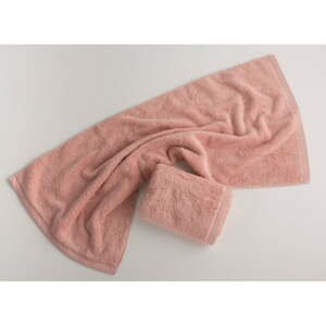 Ružový bavlnený uterák El Delfin Lisa Coral, 50 x 100 cm