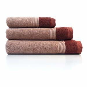 Súprava 3 červených bavlnených uterákov Ethere Banda Vino