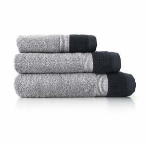 Súprava 3 sivých bavlnených uterákov Ethere Banda Antracita