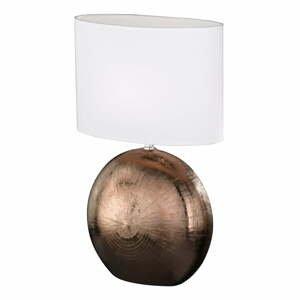 Bielo-hnedá stolová lampa Fischer & Honsel Foro, výška 53 cm