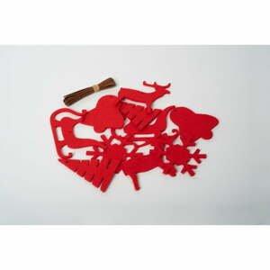 Súprava 10 červených plsťových vianočných dekorácií Spira Medium