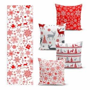 Súprava 4 vianočných obliečok na vankúš a behúň na stôl Minimalist Cushion Covers Red Snowflake