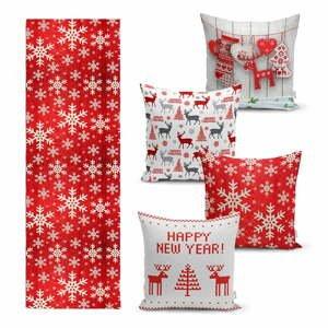 Súprava 4 vianočných obliečok na vankúš a behúň na stôl Minimalist Cushion Covers Happy Holiday