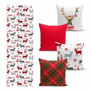 Súprava 4 vianočných obliečok na vankúš a behúň na stôl Minimalist Cushion Covers Christmas Ornaments
