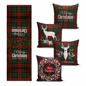Súprava 4 vianočných obliečok na vankúš a behúň na stôl Minimalist Cushion Covers Tartan Christmas