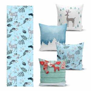 Súprava 4 vianočných obliečok na vankúš a behúň na stôl Minimalist Cushion Covers Winter Wonderland