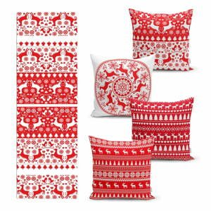 Súprava 4 vianočných obliečok na vankúš a behúň na stôl Minimalist Cushion Covers Christmas