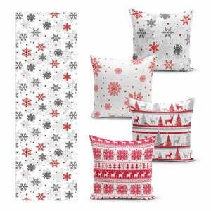 Súprava 4 vianočných obliečok na vankúš a behúň na stôl Minimalist Cushion Covers Red Christmas