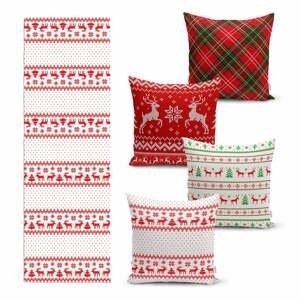 Súprava 4 vianočných obliečok na vankúš a behúň na stôl Minimalist Cushion Covers Nordic Knit