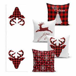 Súprava 4 vianočných obliečok na vankúš a behúň na stôl Minimalist Cushion Covers Christmas Tartan