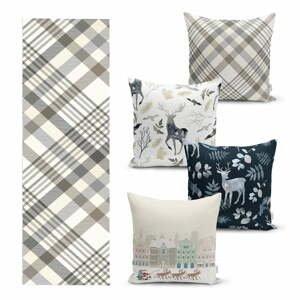 Súprava 4 vianočných obliečok na vankúš a behúň na stôl Minimalist Cushion Covers Holiday Season
