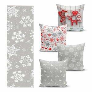 Súprava 4 vianočných obliečok na vankúš a behúň na stôl Minimalist Cushion Covers Snowflakes
