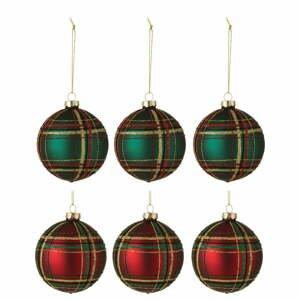 Súprava 6 sklenených vianočných ozdôb J-Line Traditional