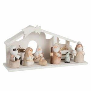 Biela keramická vianočná dekorácia J-Line Nativity