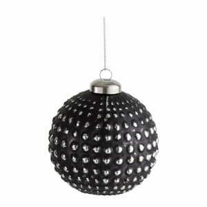 Súprava 6 čiernych sklenených vianočných ozdôb J-Line Ball