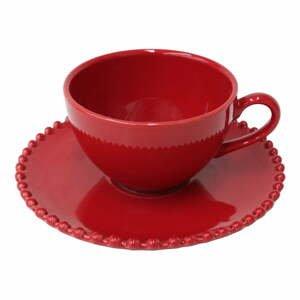 Rubínovočervená kameninová šálka na čaj s tanierikom Costa Nova Pearlrubi, 250 ml
