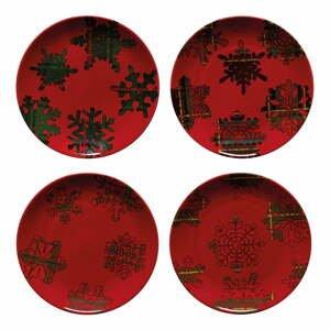 Súprava 4 červeno-čiernych dezertných tanierov z kameniny Casafina Snowflake, ø 21,6 cm