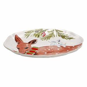 Kameninový vianočný podnos Casafina Deer Friends, 32 x 22 cm