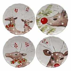 Súprava 4 vianočných dezertných tanierov z kameniny Casafina Deer Freinds, ø 27 cm
