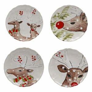 Súprava 4 vianočných dezertných tanierov z kameniny Casafina Deer Freinds, ø 21,4 cm