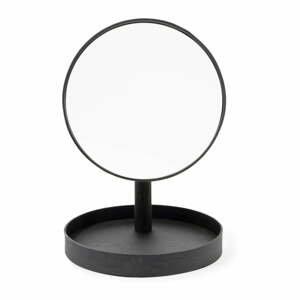 Čierne kozmetické zrcadlo s rámom z dubového dreva Wireworks Look, ø 25 cm