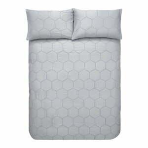 Sivé bavlnené obliečky Bianca Honeycomb, 135 x 200 cm