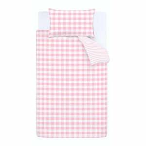 Ružové bavlnené obliečky Bianca Check And Stripe, 135 x 200 cm