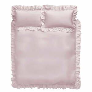 Ružové bavlnené obliečky Bianca Frill, 135 x 200 cm