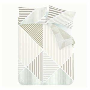 Béžové obliečky Catherine Lansfield Bloc Geo, 200 x 200 cm